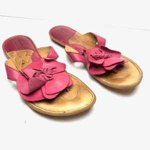 BORN Pink Flower Genuine Leather Sandals Shoes  9